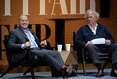 Apple Senior Vice President of Design Jonathan Ive and Vanity Fair EditorinChief Graydon Carter speak onstage during 'Genius by Design' at the Vanity...