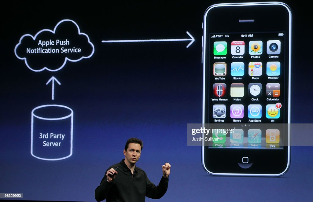 Apple Senior Vice President of iPhone Software Scott Forstall speaks during an Apple special event April 8, 2010 in Cupertino, California. Apple CEO Steve Jobs announced the new iPhone OS4 software.