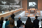 Apple senior vice president of online and retail stores Angela Ahrendts speaks to reporters during a press preview of the new flagship Apple Store on...