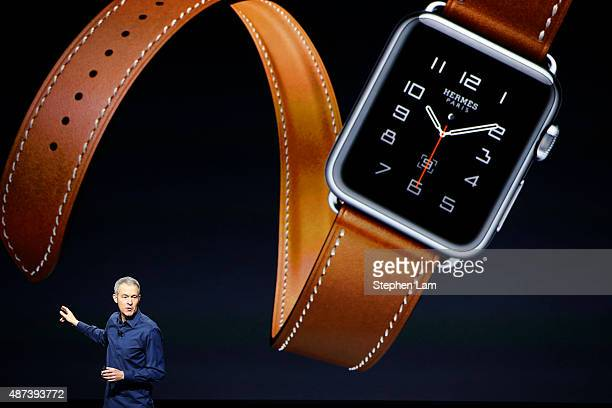 Apple Senior Vice President of Operations Jeff Williams speaks about the Apple Watch on stage during an Special Event at Bill Graham Civic Auditorium...