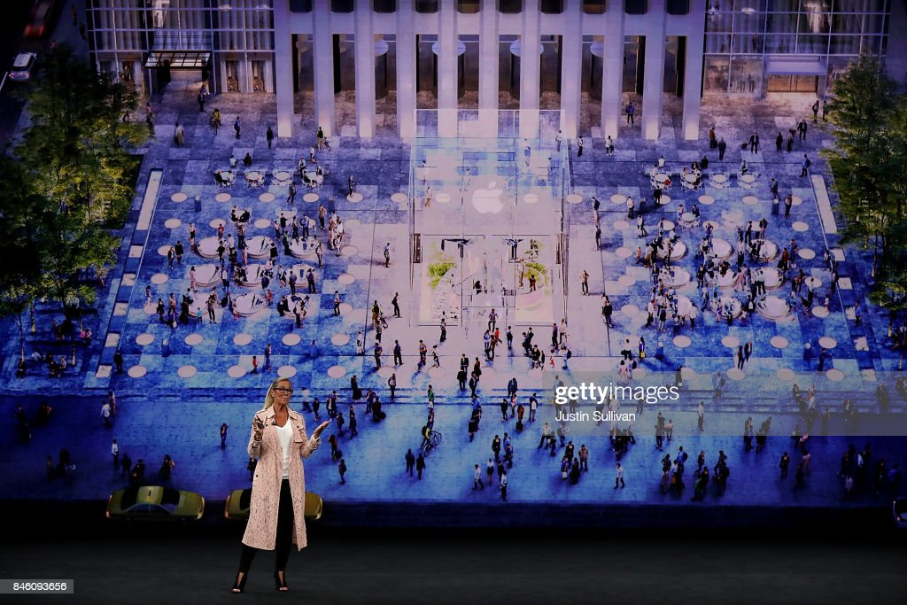 Apple senior vice president of retail Angela Ahrendts speaks during an Apple special event at the Steve Jobs Theatre on the Apple Park campus on September 12, 2017 in Cupertino, California. Apple is holding their first special event at the new Apple Park campus where they are expected to unveil a new iPhone.