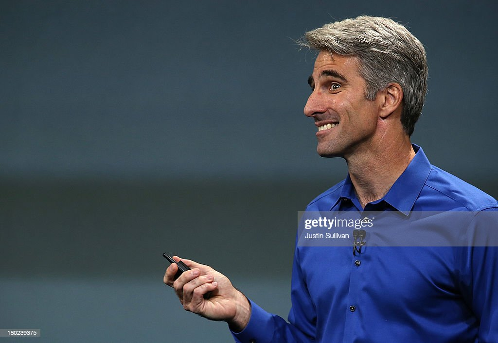 Apple Senior Vice President of Software Engineering Craig Federighi speaks during an Apple product announcement at the Apple campus on September 10, 2013 in Cupertino, California. The company launched the new iPhone 5C model that will run iOS 7 is made from hard-coated polycarbonate and comes in various colors.