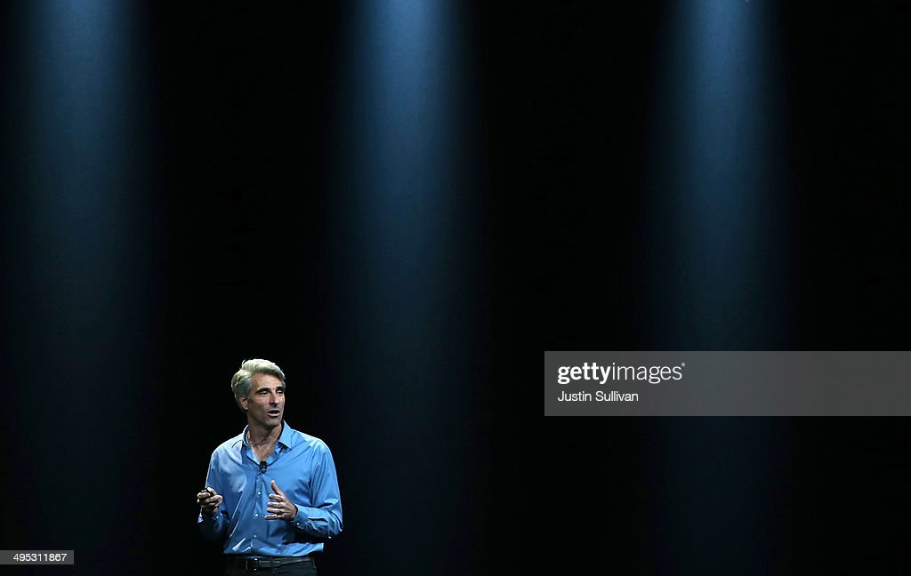 Apple Senior Vice President of Software Engineering <a gi-track='captionPersonalityLinkClicked' href=/galleries/search?phrase=Craig+Federighi&family=editorial&specificpeople=7853078 ng-click='$event.stopPropagation()'>Craig Federighi</a> speaks during the Apple Worldwide Developers Conference at the Moscone West center on June 2, 2014 in San Francisco, California. Tim Cook kicked off the annual WWDC which is typically a showcase for upcoming updates to Apple hardware and software. The conference runs through June 6.