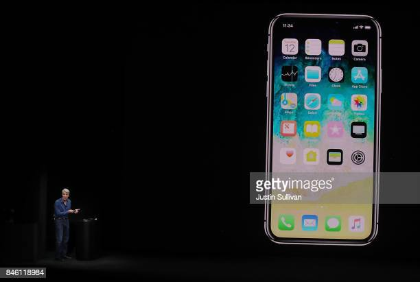 Apple Senior Vice President of Software Engineering Craig Federighi introduces the new iPhone X during an Apple special event at the Steve Jobs...