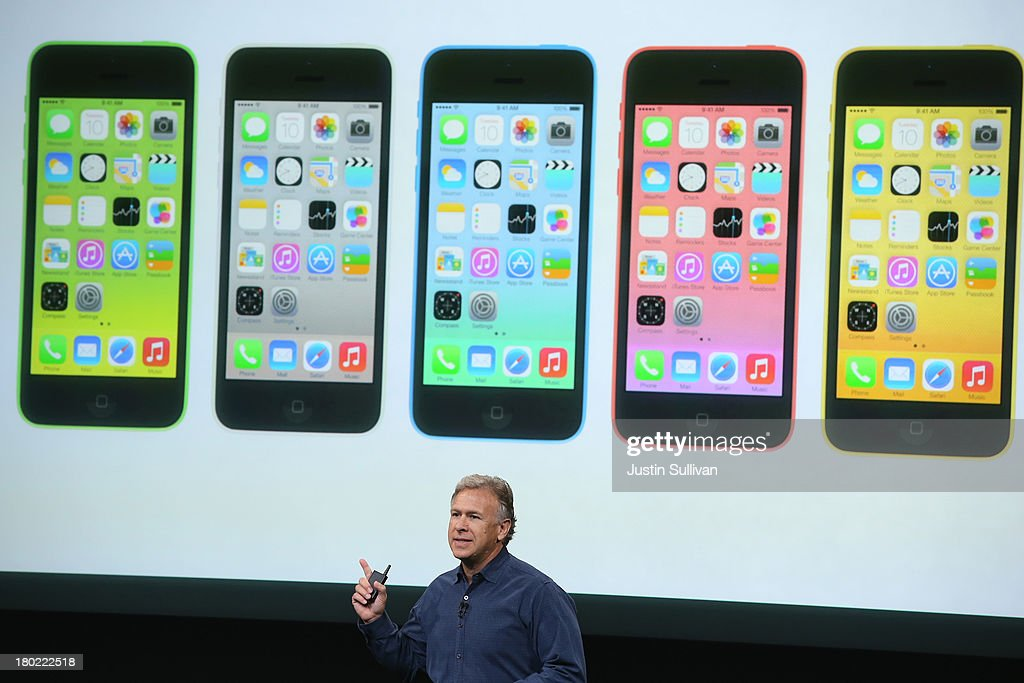 Apple Senior Vice President of Worldwide Marketing at <a gi-track='captionPersonalityLinkClicked' href=/galleries/search?phrase=Phil+Schiller&family=editorial&specificpeople=1384861 ng-click='$event.stopPropagation()'>Phil Schiller</a> speaks about the new iPhone 5C during an Apple product announcement at the Apple campus on September 10, 2013 in Cupertino, California. The company launched the new iPhone 5C model that will run iOS 7 is made from hard-coated polycarbonate and comes in various colors.