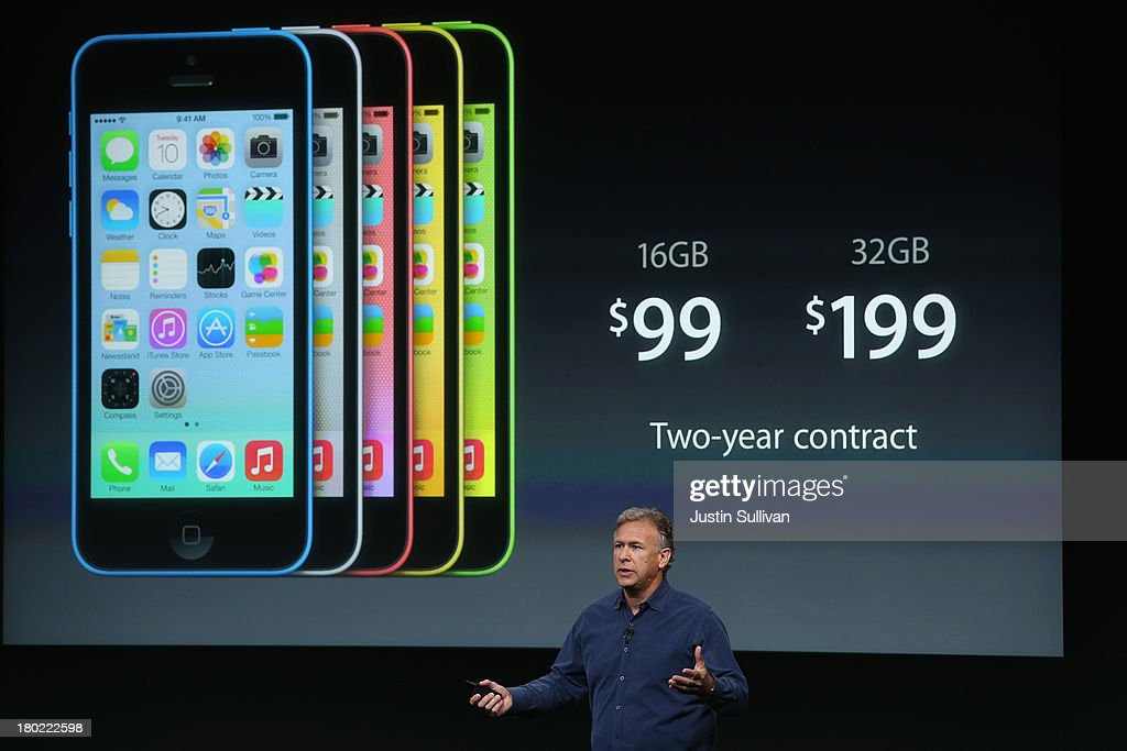 Apple Senior Vice President of Worldwide Marketing at Phil Schiller speaks about the new iPhone 5C during an Apple product announcement at the Apple campus on September 10, 2013 in Cupertino, California. The company launched the new iPhone 5C model that will run iOS 7 is made from hard-coated polycarbonate and comes in various colors.