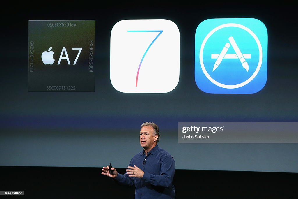 Apple Senior Vice President of Worldwide Marketing at Phil Schiller speaks about the new iPhone 5S during an Apple product announcement at the Apple campus on September 10, 2013 in Cupertino, California. The company launched two new iPhone models that will run iOS 7. The 5C is made from a hard-coated polycarbonate and comes in five colors. The 5S comes in three colors and contains an A7 chip.