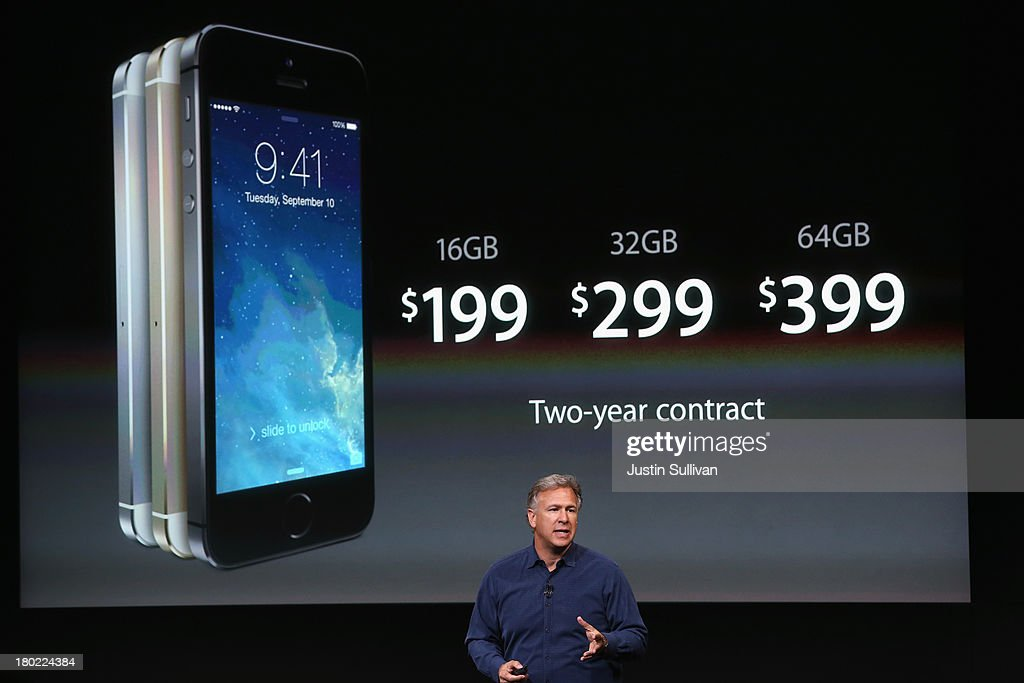 Apple Senior Vice President of Worldwide Marketing at Phil Schiller speaks about the new iPhone 5S during an Apple product announcement at the Apple campus on September 10, 2013 in Cupertino, California. The company launched two new iPhone models that will run iOS 7. The 5C is made from a hard-coated polycarbonate and comes in five colors. The 5S comes in three colors, features a fingerprint sensor, has an upgraded camera, and contains an A7 chip.