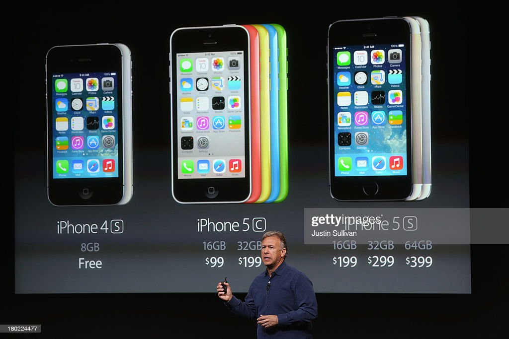 Apple Senior Vice President of Worldwide Marketing at Phil Schiller speaks about pricing for the new iPhone during an Apple product announcement at the Apple campus on September 10, 2013 in Cupertino, California. The company launched two new iPhone models that will run iOS 7. The 5C is made from a hard-coated polycarbonate and comes in five colors. The 5S comes in three colors, features a fingerprint sensor, has an upgraded camera, and contains an A7 chip.