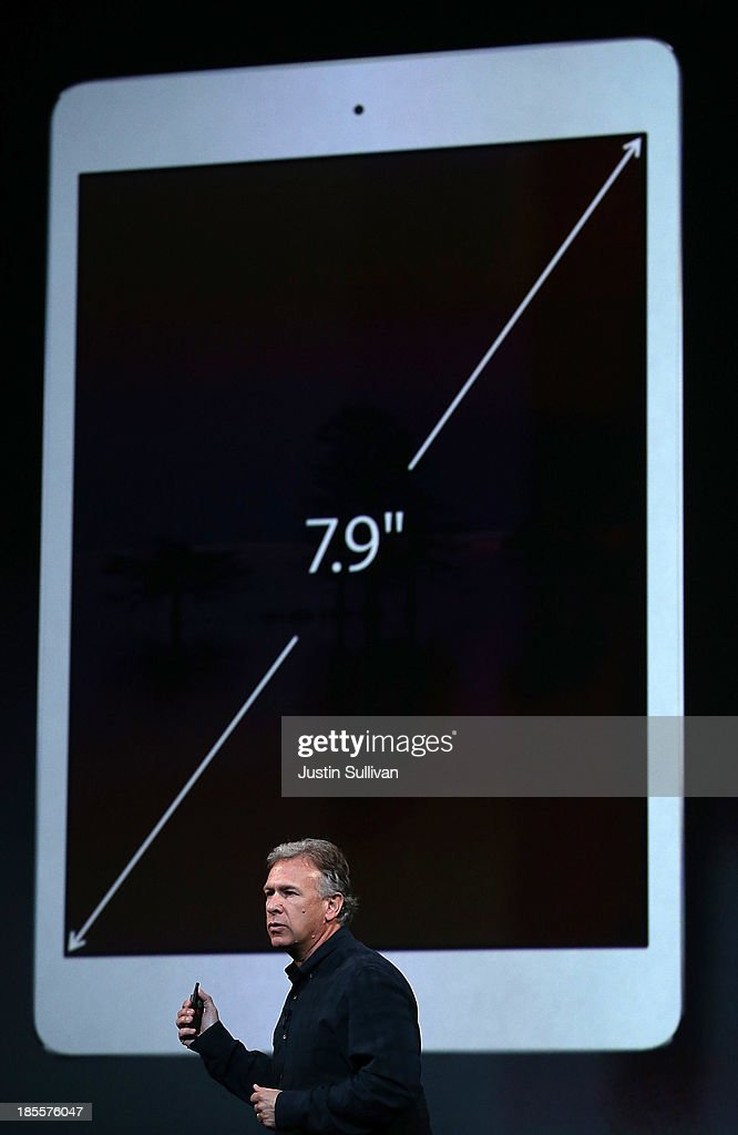 Apple Senior Vice President of Worldwide Marketing at Phil Schiller speaks on the new iPad Mini during an Apple announcement at the Yerba Buena Center for the Arts on October 22, 2013 in San Francisco, California. The tech giant announced its new iPad Air, a new iPad mini with Retina display, OS X Mavericks and highlighted its Mac Pro.