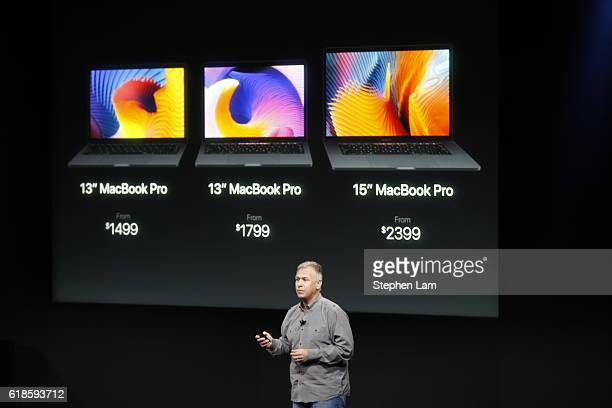 Apple Senior Vice President of Worldwide Marketing Phil Schiller speaks during a product launch event on October 27 2016 in Cupertino California...