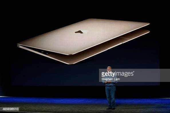 Apple Senior Vice President of Worldwide Marketing Phil Schiller introduces new features on the new MacBook during an Apple special event at the...
