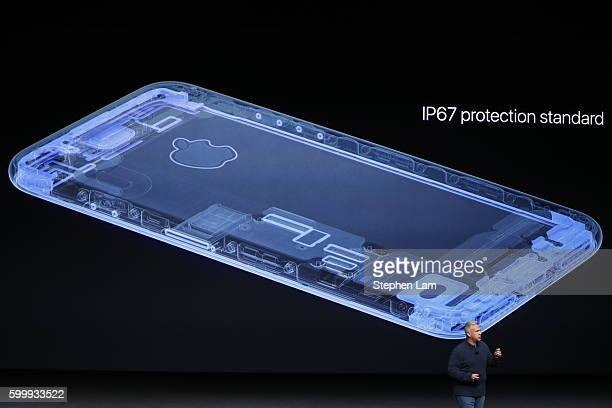 Apple Senior Vice President of Worldwide Marketing Phil Schiller speaks on the new Apple iPhone 7 during a launch event on September 7 2016 in San...