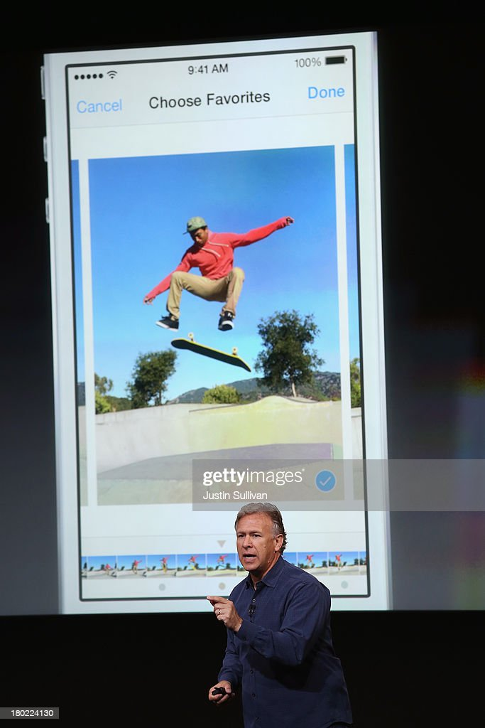 Apple Senior Vice President of Worldwide Marketing Phil Schiller speaks about the new iPhone 5S during an Apple product announcement at the Apple campus on September 10, 2013 in Cupertino, California. The company launched two new iPhone models that will run iOS 7. The 5C is made from a hard-coated polycarbonate and comes in five colors. The 5S comes in three colors has an upgraded camera and contains an A7 chip.