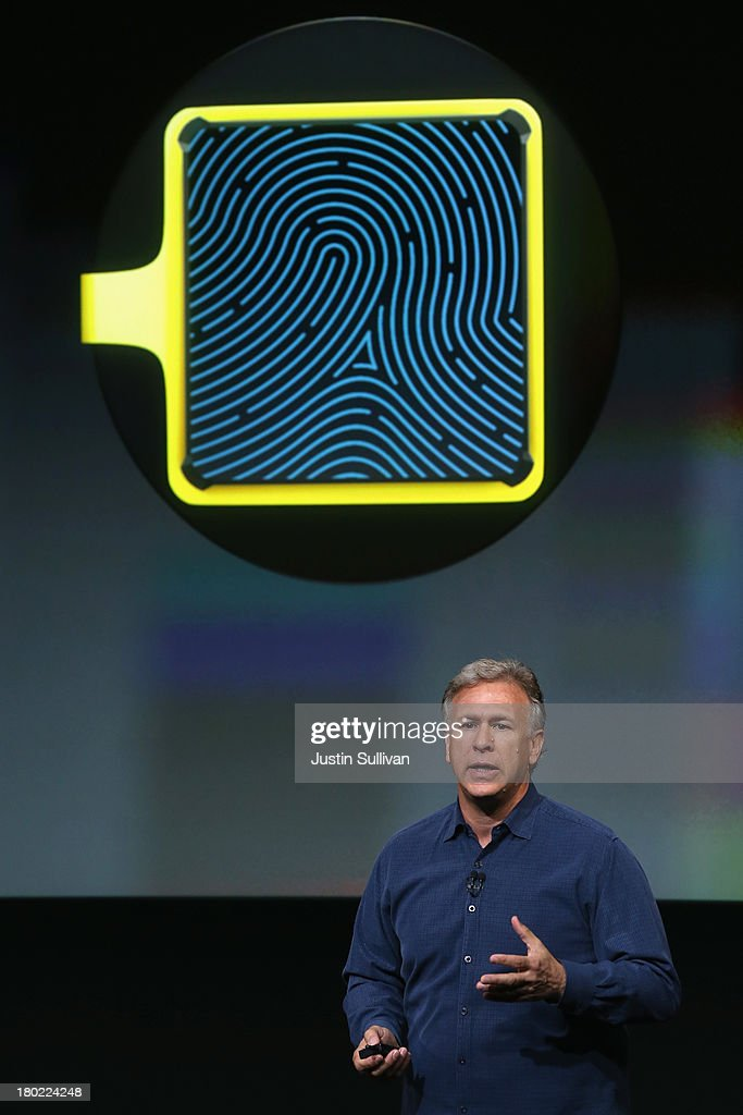 Apple Senior Vice President of Worldwide Marketing Phil Schiller speaks about security features of the new iPhone 5S during an Apple product announcement at the Apple campus on September 10, 2013 in Cupertino, California. The company launched two new iPhone models that will run iOS 7. The 5C is made from a hard-coated polycarbonate and comes in five colors. The 5S features a fingerprint sensor, has an upgraded camera, and contains an A7 chip