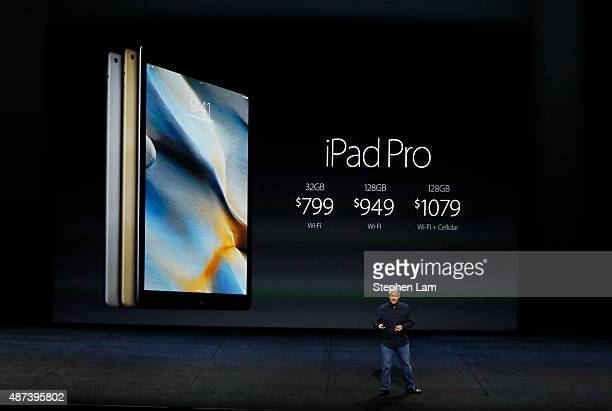 Apple Senior Vice President of Worldwide Marketing Phil Schiller speaks about the prices for iPad Pro on stage during a Special Event at Bill Graham...