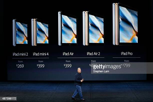 Apple Senior Vice President of Worldwide Marketing Phil Schiller speaks about the prices for iPads on stage during a Special Event at Bill Graham...