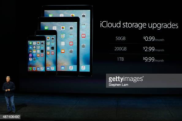 Apple Senior Vice President of Worldwide Marketing Phil Schiller speaks about iCloud storage upgrades during a Special Event at Bill Graham Civic...