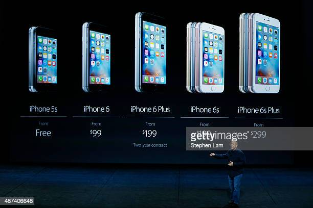 Apple Senior Vice President of Worldwide Marketing Phil Schiller speaks about iPhone prices during a Special Event at Bill Graham Civic Auditorium...