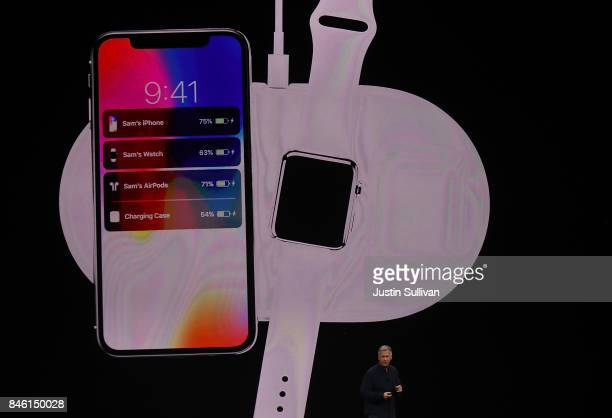 Apple senior vice president of worldwide marketing Phil Schiller introduces AirPower during an Apple special event at the Steve Jobs Theatre on the...