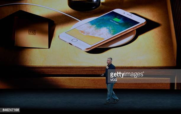 Apple senior vice president of worldwide marketing Phil Schiller makes speech during the Apple launch event on September 12 2017 in...