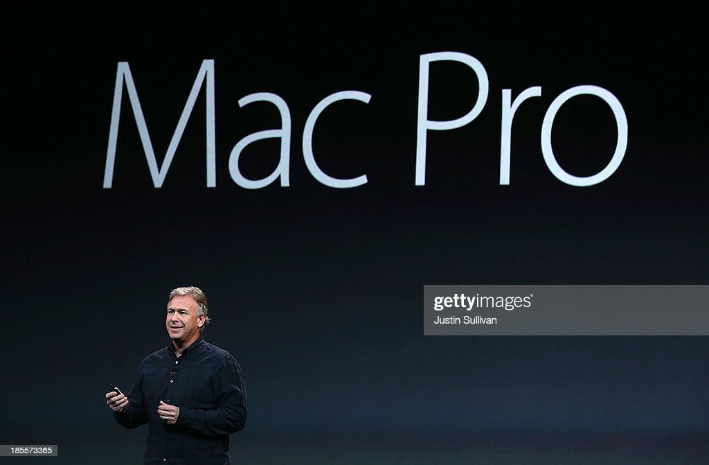 Apple Senior Vice President of Worldwide Marketing Phil Schiller announces the new Mac Pro during an Apple announcement at the Yerba Buena Center for the Arts on October 22, 2013 in San Francisco, California. The tech giant is expected to announce its new iPad 5, iPad mini 2, OS X Mavericks and possibly a new retina MacBook Pro.