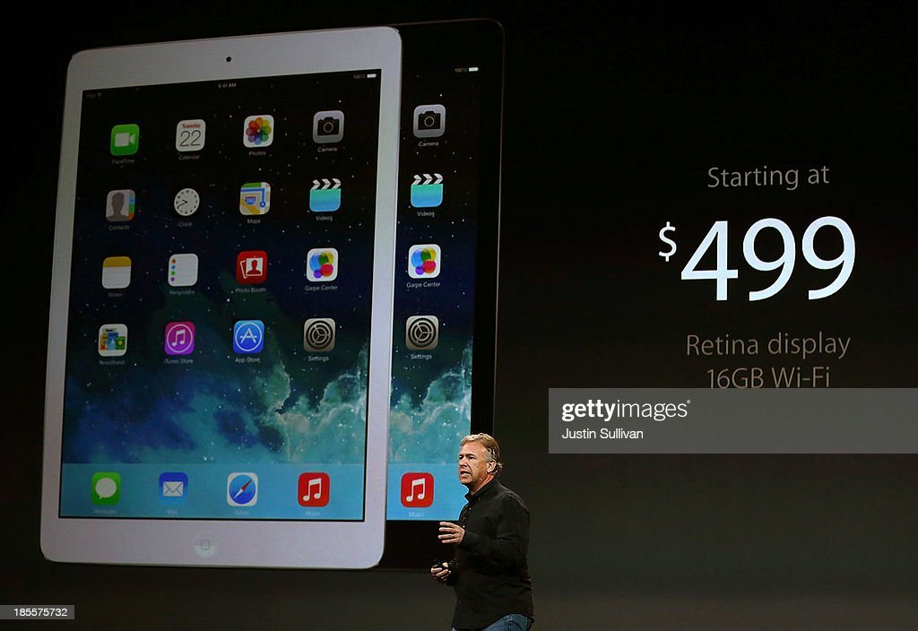 Apple Senior Vice President of Worldwide Marketing Phil Schiller announces the new iPad Air during an Apple announcement at the Yerba Buena Center for the Arts on October 22, 2013 in San Francisco, California. The tech giant announced its new iPad Air, a new iPad mini with Retina display, OS X Mavericks and highlighted its Mac Pro.