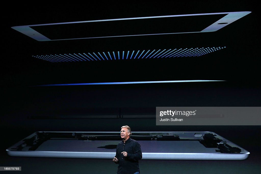 Apple Senior Vice President of Worldwide Marketing <a gi-track='captionPersonalityLinkClicked' href=/galleries/search?phrase=Phil+Schiller&family=editorial&specificpeople=1384861 ng-click='$event.stopPropagation()'>Phil Schiller</a> announces the new iPad Air during an Apple announcement at the Yerba Buena Center for the Arts on October 22, 2013 in San Francisco, California. The tech giant announced its new iPad Air, a new iPad mini with Retina display, OS X Mavericks and highlighted its Mac Pro.