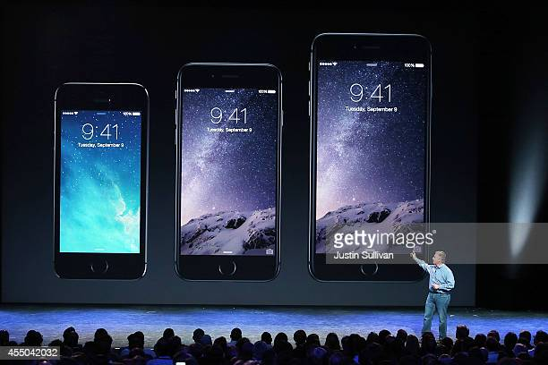 Apple Senior Vice President of Worldwide Marketing Phil Schiller announces the new iPhone 6 during an Apple special event at the Flint Center for the...