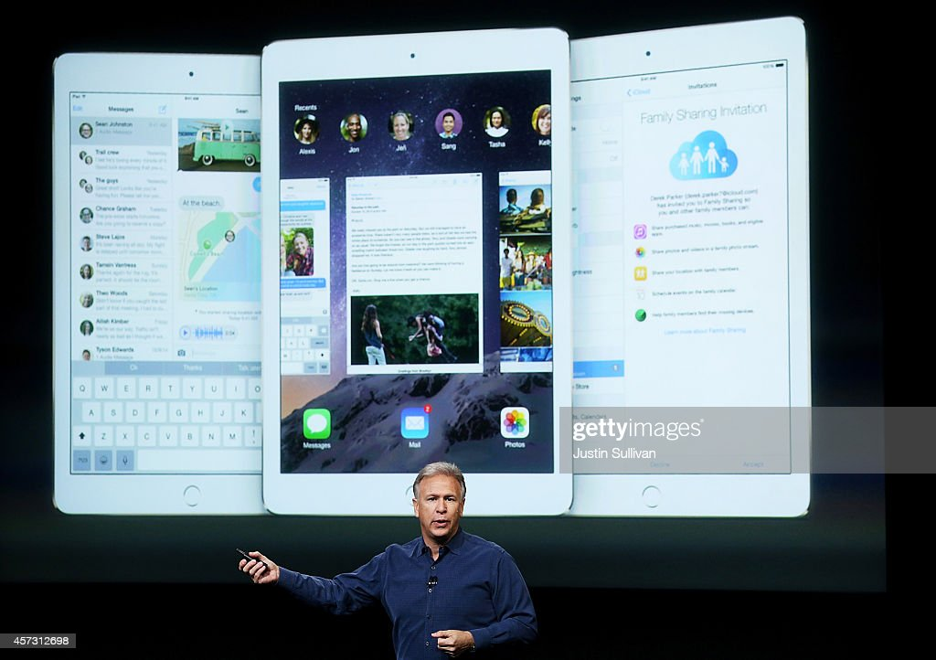 Apple Senior Vice President of Worldwide Marketing <a gi-track='captionPersonalityLinkClicked' href=/galleries/search?phrase=Phil+Schiller&family=editorial&specificpeople=1384861 ng-click='$event.stopPropagation()'>Phil Schiller</a> announces the new iPad Air 2 during a special event on October 16, 2014 in Cupertino, California. Apple unveiled the new iPad Air 2 tablet.