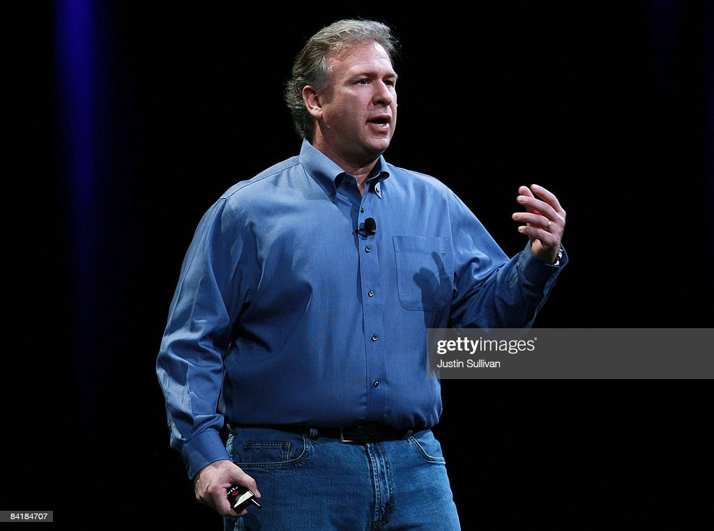 Apple Senior Vice President of Worldwide Marketing Phil Schiller delivers the keynote address during the MacWorld Conference January 6, 2009 at the Moscone Center in San Francisco, California. Schiller is giving this year instead of Apple CEO Steve Jobs and this will be Apple's last year attending the annual MacWorld Conference.