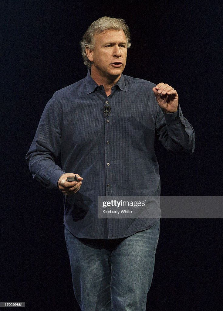 Apple Senior Vice President of Worldwide product marketing, Phil Schiller, speaks during the keynote address during the 2013 Apple WWDC at the Moscone Center on June 10, 2013 in San Francisco, California. Apple introduced a new mobile operatng system iOS 7, hardware upgrades and a new operating system OS X Mavericks during the keynote qaddress. The annual developer conference runs through June 14.