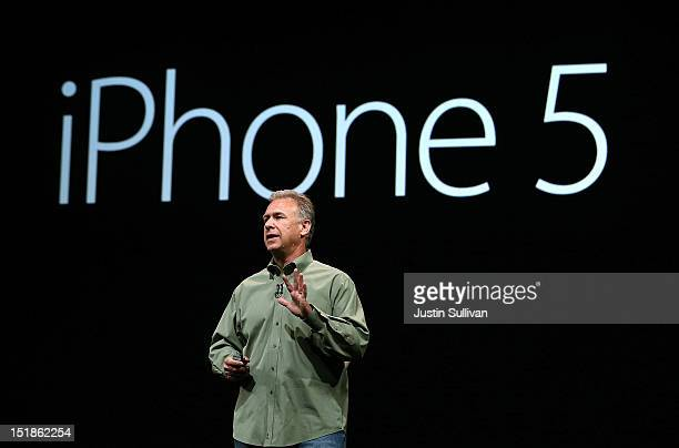 Apple Senior Vice President of Worldwide product marketing Phil Schiller announces the new iPhone 5 during an Apple special event at the Yerba Buena...