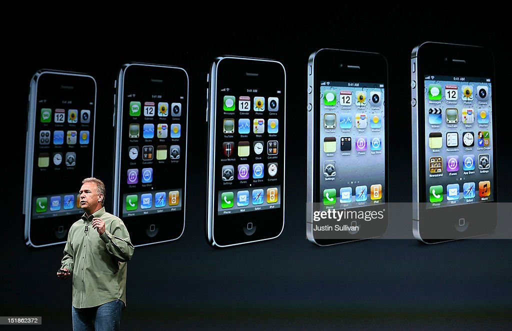 Apple Senior Vice President of Worldwide product marketing Phil Schiller announces the new iPhone 5 during an Apple special event at the Yerba Buena Center for the Arts on September 12, 2012 in San Francisco, California. Apple announced the iPhone 5, the latest version of the popular smart phone.