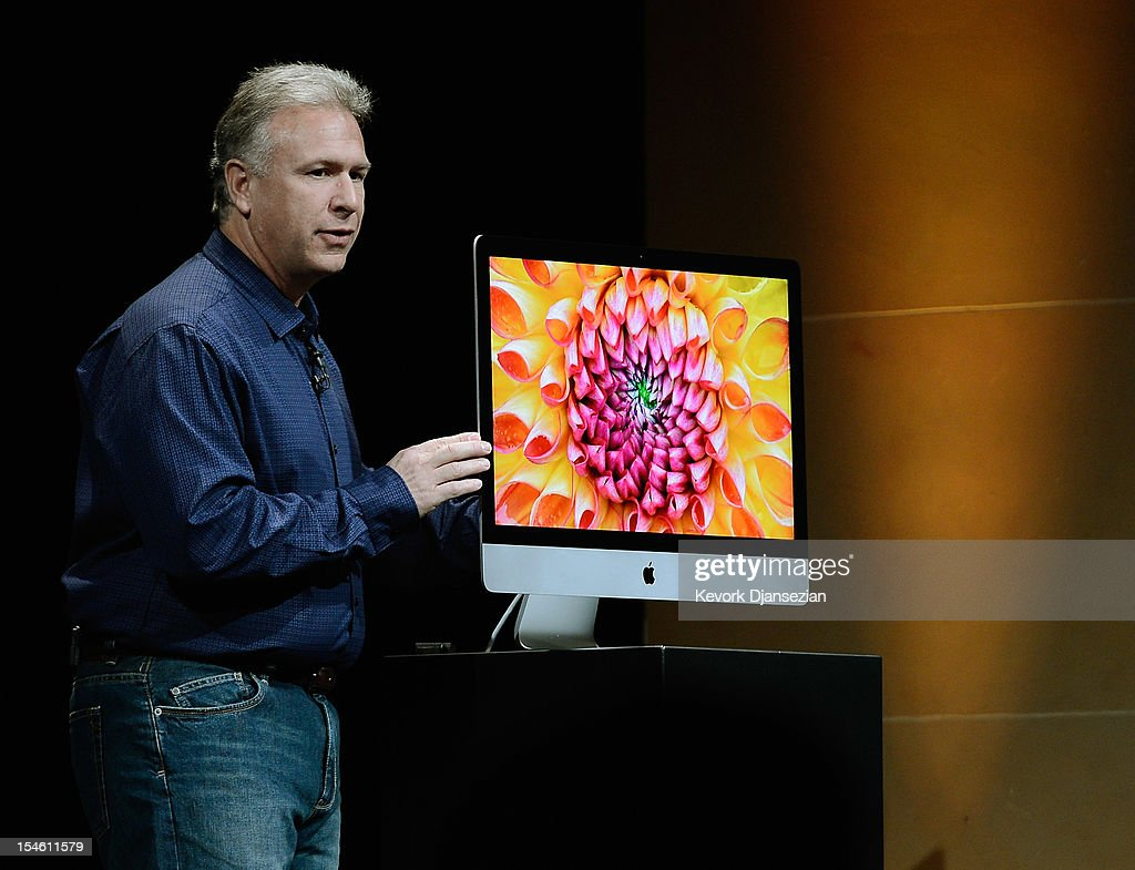 Apple Senior Vice President of Worldwide product marketing Phil Schiller announces the new iMac during an Apple special event at the historic California Theater on October 23, 2012 in San Jose, California. Apple is expected to introduce a smaller, less expensive version of the iPad.