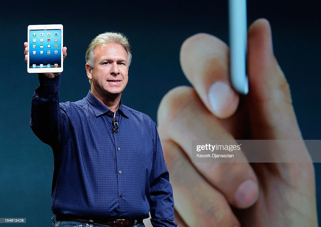 Apple Senior Vice President of Worldwide product marketing <a gi-track='captionPersonalityLinkClicked' href=/galleries/search?phrase=Phil+Schiller&family=editorial&specificpeople=1384861 ng-click='$event.stopPropagation()'>Phil Schiller</a> announces the new iPad Mini during an Apple special event at the historic California Theater on October 23, 2012 in San Jose, California. The iPad Mini is Apple's smaller version of the iPad tablet.