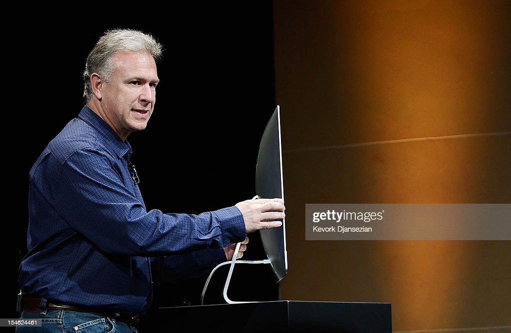 Apple Senior Vice President of Worldwide product marketing <a gi-track='captionPersonalityLinkClicked' href=/galleries/search?phrase=Phil+Schiller&family=editorial&specificpeople=1384861 ng-click='$event.stopPropagation()'>Phil Schiller</a> announces the new iMac during an Apple special event at the historic California Theater on October 23, 2012 in San Jose, California. Apple introduced the new iPad mini at the event, Apple's smaller 7.9 inch version of the iPad tablet.