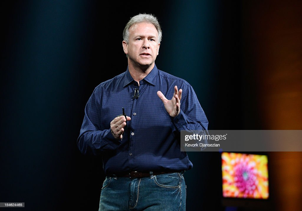 Apple Senior Vice President of Worldwide product marketing Phil Schiller announces the new iMac during an Apple special event at the historic California Theater on October 23, 2012 in San Jose, California. Apple introduced the new iPad mini at the event, Apple's smaller 7.9 inch version of the iPad tablet.