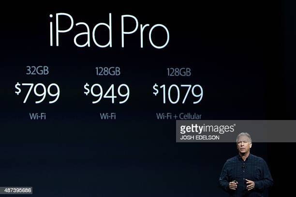 Apple Senior Vice President Philip Schiller speaks about the new iPad Pro at a media event in San Francisco California on September 9 2015 Apple on...