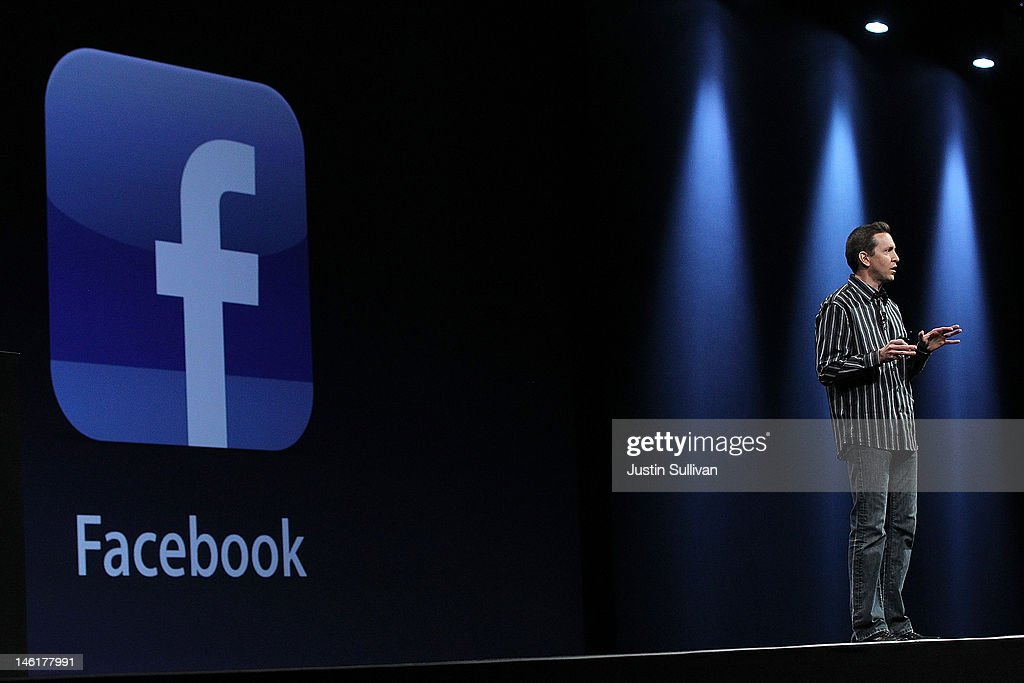 Apple Senior VP of iPhone Software Scott Forstall announces better Facebook integration as part the new iOS 6 operating system for iPhone and iPad during the keynote address at the Apple 2012 World Wide Developers Conference (WWDC) at Moscone West on June 11, 2012 in San Francisco, California. Apple unveiled a slew of new hardware and software updates at the company's annual developer conference which runs through June 15.
