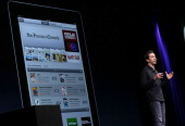 Apple Senior VP of iPhone Software Scott Forstall announces the new iOS5 as he speaks during the keynote address at the 2011 Apple World Wide...
