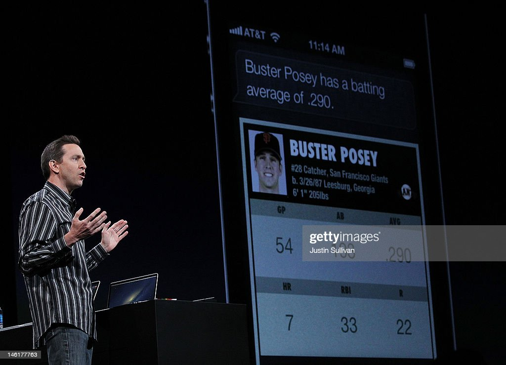 Apple Senior VP of iPhone Software Scott Forstall demonstrates new Siri features as part of iOS 6 during the keynote address during the keynote address at the Apple 2012 World Wide Developers Conference (WWDC) at Moscone West on June 11, 2012 in San Francisco, California. Apple unveiled a slew of new hardware and software updates at the company's annual developer conference which runs through June 15.
