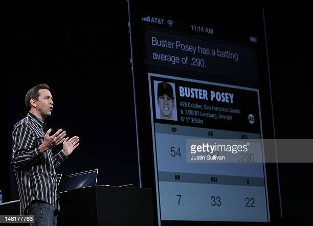 Apple Senior VP of iPhone Software Scott Forstall demonstrates new Siri features as part of iOS 6 during the keynote address during the keynote...