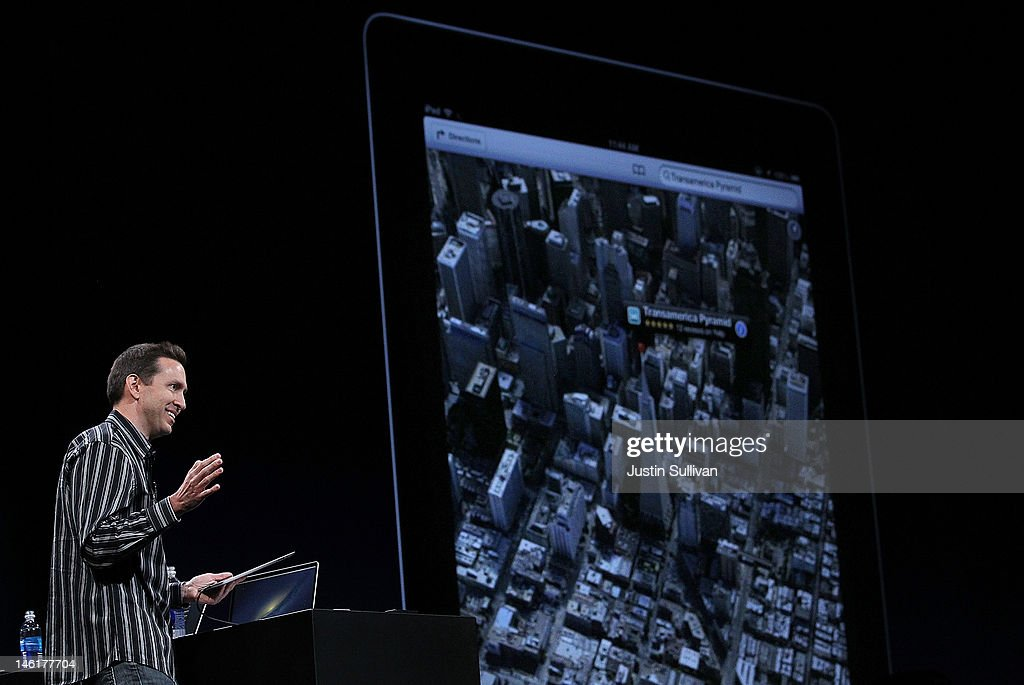 Apple Senior VP of iPhone Software Scott Forstall demonstrates the new map application featured on iOS 6 during the keynote address during the 2012 Apple WWDC keynote address at the Moscone Center on June 11, 2012 in San Francisco, California. The Apple WWDC starts today and runs through June 15.