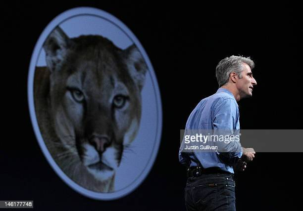 Apple Senior VP of Software Engineering Craig Federighi announces the new Mountain Lion operating system during the keynote address at the Apple 2012...