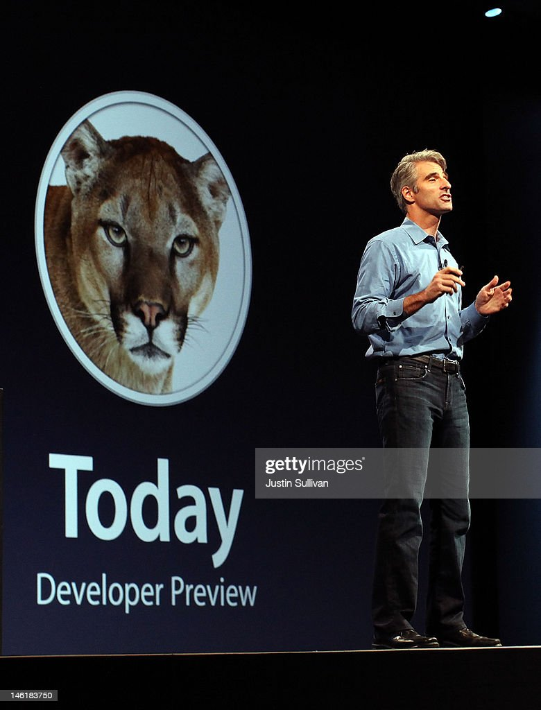 Apple Senior VP of Software Engineering Craig Federighi announces the new Mountain Lion operating system during the keynote address during the 2012 Apple WWDC keynote address at the Moscone Center on June 11, 2012 in San Francisco, California. The Apple WWDC starts today and runs through June 15.