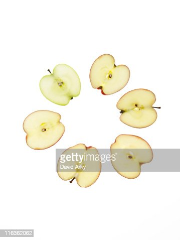 Apple slices on white background