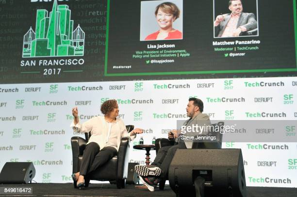 Apple Vice President of Environment Policy and Social Initiatives Lisa Jackson and TechCrunch moderator Matthew Panzarino speak onstage during...