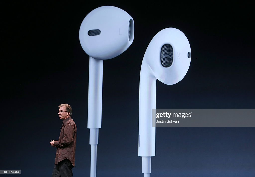 Apple Vice President of iPod and iPhone Product Marketing Greg Joswiak, announces new Apple earphones called EarPods during an Apple special event at the Yerba Buena Center for the Arts on September 12, 2012 in San Francisco, California. Apple announced the iPhone 5, the latest version of the popular smart phone as well as new updated versions of the iPod Nano, Shuffle and Touch.