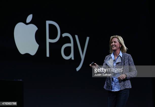 Apple Vice President of Worldwide Online Stores Jennifer Bailey speaks about Apple Pay during Apple WWDC on June 8 2015 in San Francisco California...